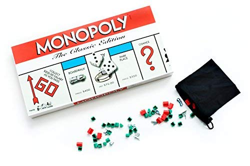 Monopoly Board Game the Classic Edition Traditional Family Fun Original Board Game - Includes Exclusive Bonus Pouch to Store Game Pieces -