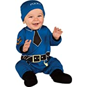 Rubie's Baby's First Halloween Policeman One-Piece Printed Jumper Hat and Booties, Blue, 0-6 Months