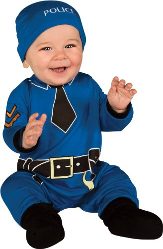 [Rubie's Costume Baby's First Halloween Policeman One-Piece Printed Jumper Hat and Booties, Blue, 0-6 Months] (Policeman Hat Costume)