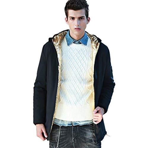 Cappotto Uomo Abbigliamento Caldo Hx Giacca Dimensioni Cappuccio Confortevoli Vento Del Capispalla Da Modo Piumino Trincea Svago Schwarz2 A Di Con wTvr4zqETx