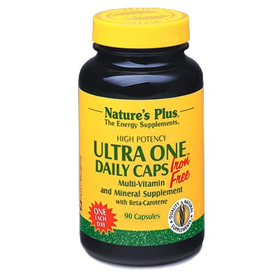 Natures Plus Ultra One Iron Free - 90 Easy to Swallow Capsules - Once Daily Multivitamin and Mineral Supplement, High Potency - Vegetarian, Gluten Free - 90 Servings