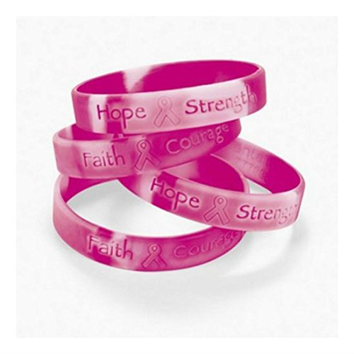 [Breast Cancer AWARENESS Bracelets Pink Ribbon Camouflage Camo (1 dozen) Great Quality] (General Cancer Ribbon)