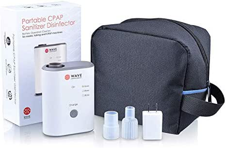Wave Medical CPAP Cleaner and Sanitizer Bundle with Cycle Timer - CPAP Machine Cleaner System for Machines, Masks, and Tubing - Includes Heated Hose Adapter, AirMini Adapter, and Sanitizing Bag
