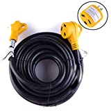 Leisure Cords 30 Ft 30 amp RV Power Extension Cord with LED Power indictor - 30 Amp Male to 30 Amp Female Standard Plug (30 Amp - 30 Foot)