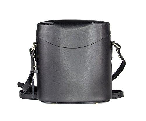 Without Genuine Leather Women's Shoulder Bag, Bucket Bag, Minimal (midnight)