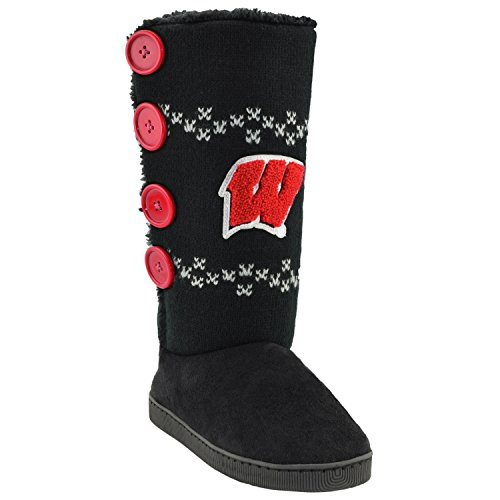 College Edition NCAA Wisconsin Badgers Women's Button Up Stadium Boots, Small, Black ()