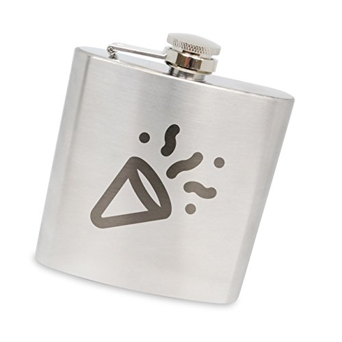 MODERN GOODS SHOP Stainless Steel Flask With Noisemaker Engraving - 6 Oz Alcohol Flask For Men And Women - Made In The USA]()