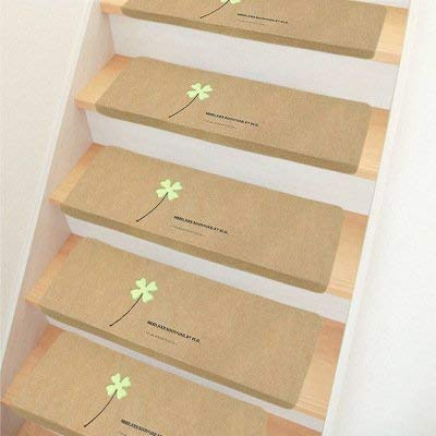 Khaki Leaf - Luminous Stair Treads Mats,Set of 15 Stairs Treads Carpet, Non Skid Stairway Carpet/Slip Resistant Stair Treads/Self Adhesive Stair Mat for Indoor Four-Leaf(Khaki)