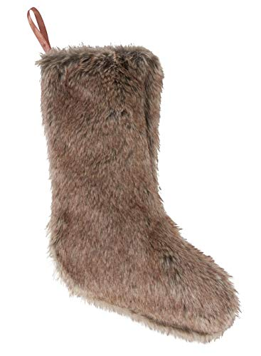 Fennco Styles Luxury Exotic Holiday Faux Fur Christmas Stocking Holder (Brown)