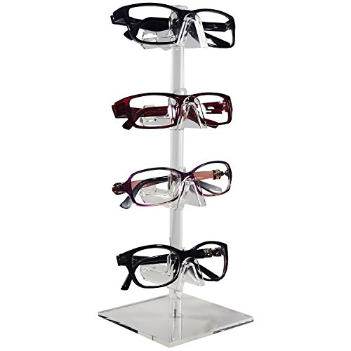 Mooca 2 Piece Acrylic Eyeglasses Frame Riser, 4 Frames for Each Holder