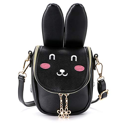 Hipiwe Little Girl Purse Cute PU Leather Bunny Ears Purse Fashionable Kids Handbag Crossbody Bag Toddlers Shoulder Bags with Bowknot for Children (Black Rabbit) -