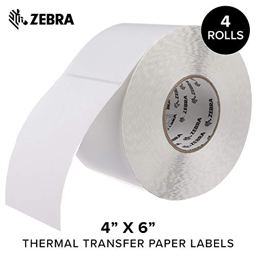 Zebra - 4 x 6 in Thermal Transfer Paper Labels, Z-Perform 2000T Permanent Adhesive Shipping Labels, Zebra Industrial Printer Compatible, 3 in Core - 4 Rolls