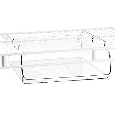InterDesign Wire Shelving Organizer, Under Shelf Bin - Large, Clear