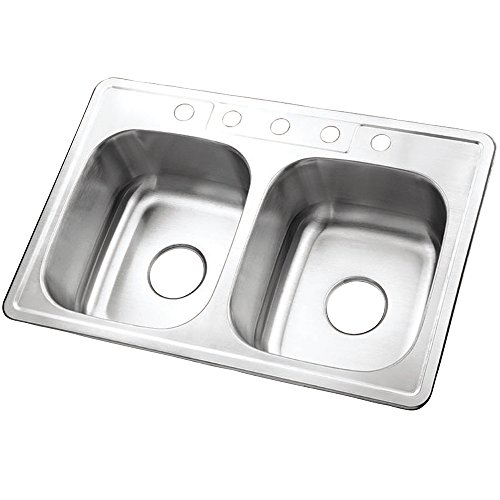 Kingston Brass Gourmetier GKTD332285  Studio Self Rimming Double Bowl Sink, 33-Inch L x 22inch W x 8-Inch H, Brushed Stainless Steel