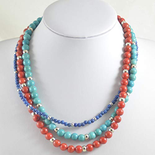 Multi-Strand Necklace from Coral and Magnesite ()