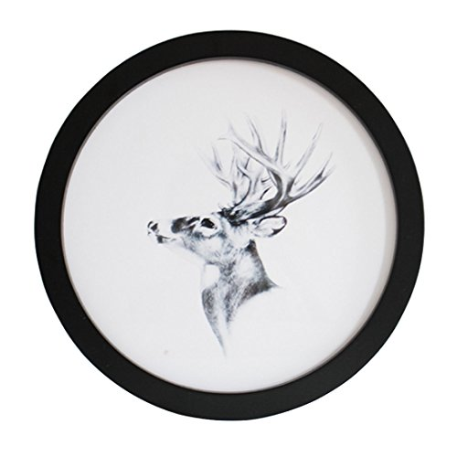Levoberg Round Photo Frame Wooden Wall Mounted Stylish Picture Frame Home Decor Black 10 inch
