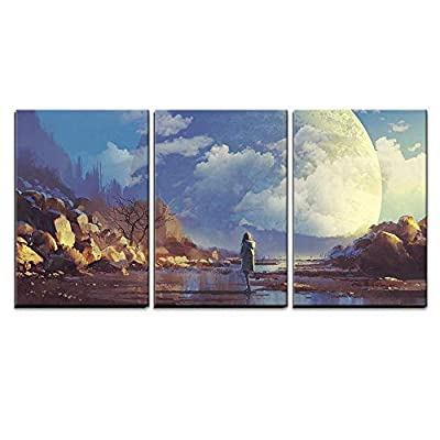 Crafted to Perfection, Marvelous Picture, Scenery of Lonely Woman Looking at Another Earth Illustration Painting x3 Panels