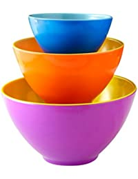 Gain iEnjoyware Melamine Mixing Bowls - Set of 3 - Mix, Prep & Store Foods with Ease - Two-Tone Nesting Design for... opportunity