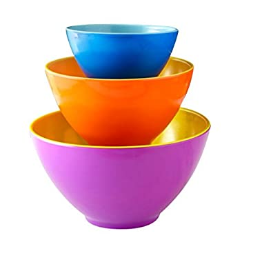 iEnjoyware Melamine Mixing Bowls - Set of 3 - Mix, Prep & Store Foods with Ease - Two-Tone Nesting Design for Easy Storage - Colorful & Fun