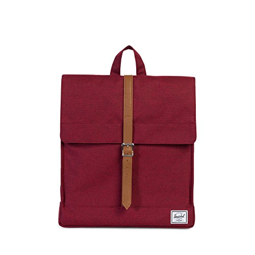 Herschel Supply Co. City Mid-Volume Backpack, Winetasting Crosshatch/Tan Synthetic Leather