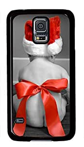 Baby Wearing Christmas Hat Theme Case for Samsung Galaxy S5 i9600 PC Material Black by Maris's Diary