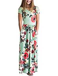 Girl's Summer Short Sleeve Floral Printed Empire Waist Long Maxi Dress with Pockets
