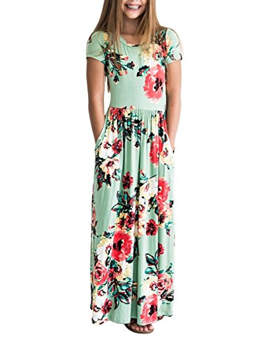 ZESICA Girl's Short Sleeve Floral Printed Empire Waist Long Maxi Dress With Pockets,Green,Large -