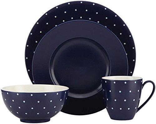 Kate Spade New York Larabee Dot Navy Dinnerware 4-Piece Place -