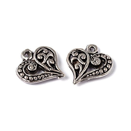 Kissitty 50-Piece Antique Silver Filigree Heart Charms 14x13mm Lead Free Tibetan Hollow Pendants with 1.5mm Hole for DIY Jewelry Making from KISSITTY