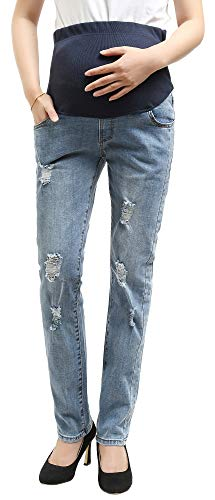 Foucome Hight Waisted Butt Lift Stretch Ripped Streight Leg Maternity Jeans Distressed Denim Pants Light Blue