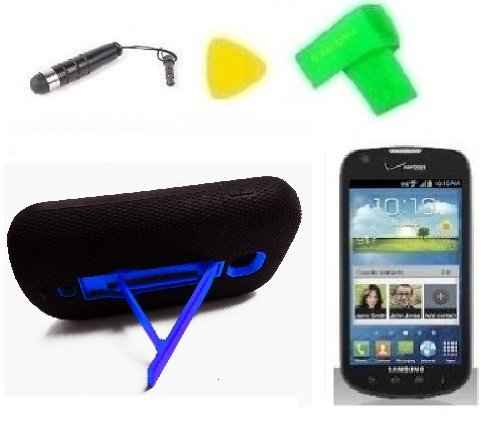 Black-Blue-Heavy-Duty-Armor-Hybrid-w-Kickstand-Phone-Case-Cover-Cell-Phone-Accessory-Yellow-Pry-Tool-Screen-Protector-Stylus-Pen-EXTREME-Band-for-Samsung-Galaxy-Legend-I200PP-SCH-I200PP