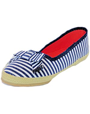Girls Cotton Canvas Striped Espadrille Flats Navy