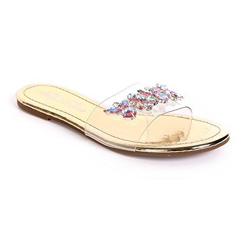 Urban Heel Women's Rhinestone Jeweled Clear Strap Sandal (Clear Shoes Rhinestones)