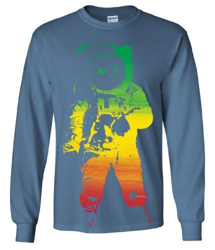 Space Astronaut Man on the Moon Rasta Long Sleeve Shirt - Indigo Blue 3X-Large