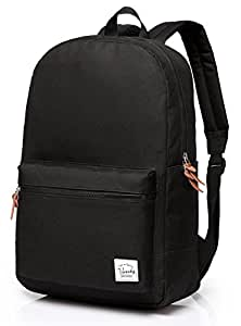 Mens Backpack,Vaschy Unisex Classic Water-resistant Campus School Rucksack Travel Backpack for Girls School Bookbags Black Fits 15.6Inch Laptop