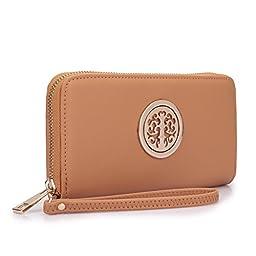 MMK collection Women Fashion Pad-lock Satchel handbags with wallet~Designer Purse for Women ~Multi Pocket ~ Perfect Women Purse and wallet~ Beautiful Designer Handbag Set (02-2553(168) Brown)
