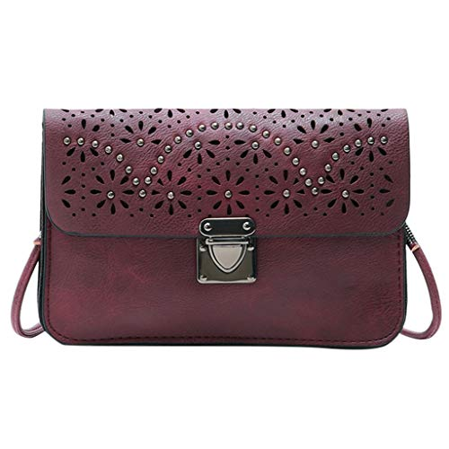 - Shoulder Bags Mother's Day Sale - TOTOD Fashion Women Rivets Hollow Solid Color Messenger Bag Phone Bag