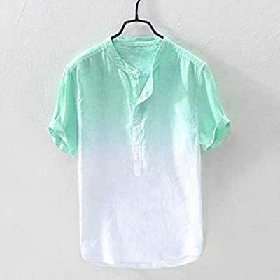 Corriee Tops for Men Breathable Cotton Linen Short Sleeve Shirts Button Blouse Mens Fashion Gradient Color Tees: Clothing