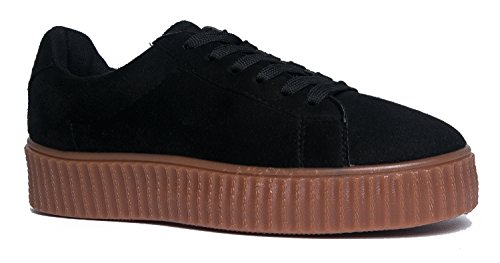 Women's Round Toe Flat Loafers London Casual Shoes Black - 7