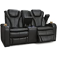 Barcalounger Colima Home Theater Seating Power Recline Loveseat with Center Storage Console (Black)
