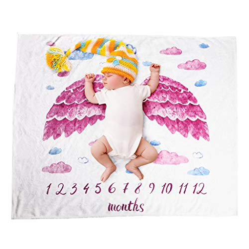 (Transser Milestone Blanket Boy-Baby Monthly Milestone Blanket, Newborn Outfit, Mom Shower Gift for Toddler Boys/Girls to Track Growth, Swaddle Blanket Photo Prop)