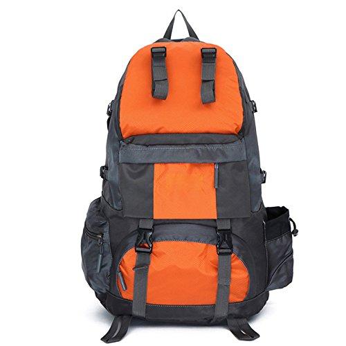 ハイキングバックパック、50リットル防水ハイキングバックパック耐久性アウトドア登山バッグYuiop軽量旅行用デイパックキャンプ登山サイクリング釣り用  オレンジ B078STFL2B