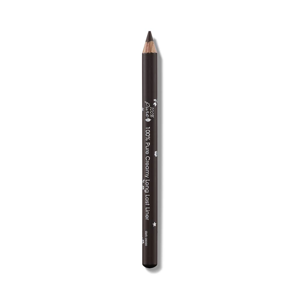 100% PURE Long Last Eyeliner, Dark Cacao, Creamy Eyeliner Pencil, Colored Eyeliner, Long-Lasting, Easy to Apply Eye Makeup, Vegan Makeup (Brown) - 0.14 oz