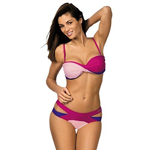 Up NiSeng Spiaggia Swimwear Costume Donna Da 2 Bikini Cucitura Pezzi Di Bikini Estate Beachwear 3 Colore Push Bikini Bagno F0q0xrBwO