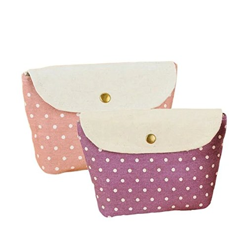 Garrelett Spotty Dot Metal Clasp Cotton Tote Handbag Wallet for Women Girls Kids, Coins Purse Card Holder Cosmetic Bag Pencil Case Pouch for Storing Phone Pens Cash (2PCS Purple and - Miu Miu Outlet Store