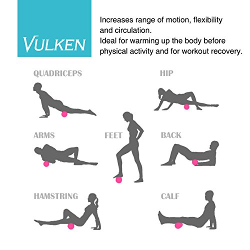 """Vulken 4 Speed High Intensity 17"""" Vibrating Foam Roller Deep Tissue Massager for Muscle Recovery (Black)"""