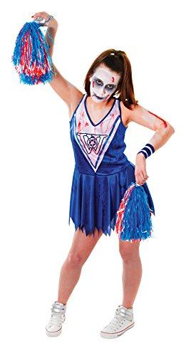 Uk Usa Costume Cheerleader (Blue & White Ladies Zombie Cheerleader)