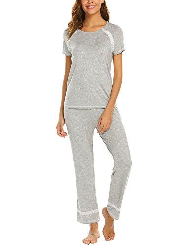 MAXMODA Women's Lace Trim 2-Piece Modal Pants Pajama Sets Grey XXL ()