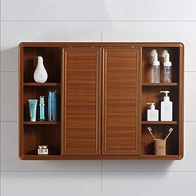 Armarios con espejo de Aluminio de Pared Mueble de Espejo de baño con Puerta Doble Puerta, diseño de Puerta corredera (Color : Wood, Size : 90 * 13 * 67cm): Amazon.es: Hogar