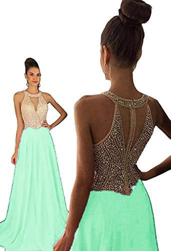 Fanciest Women's Crystal Beaded Prom Dresses 2017 Long Evening Gowns Formal Mint...